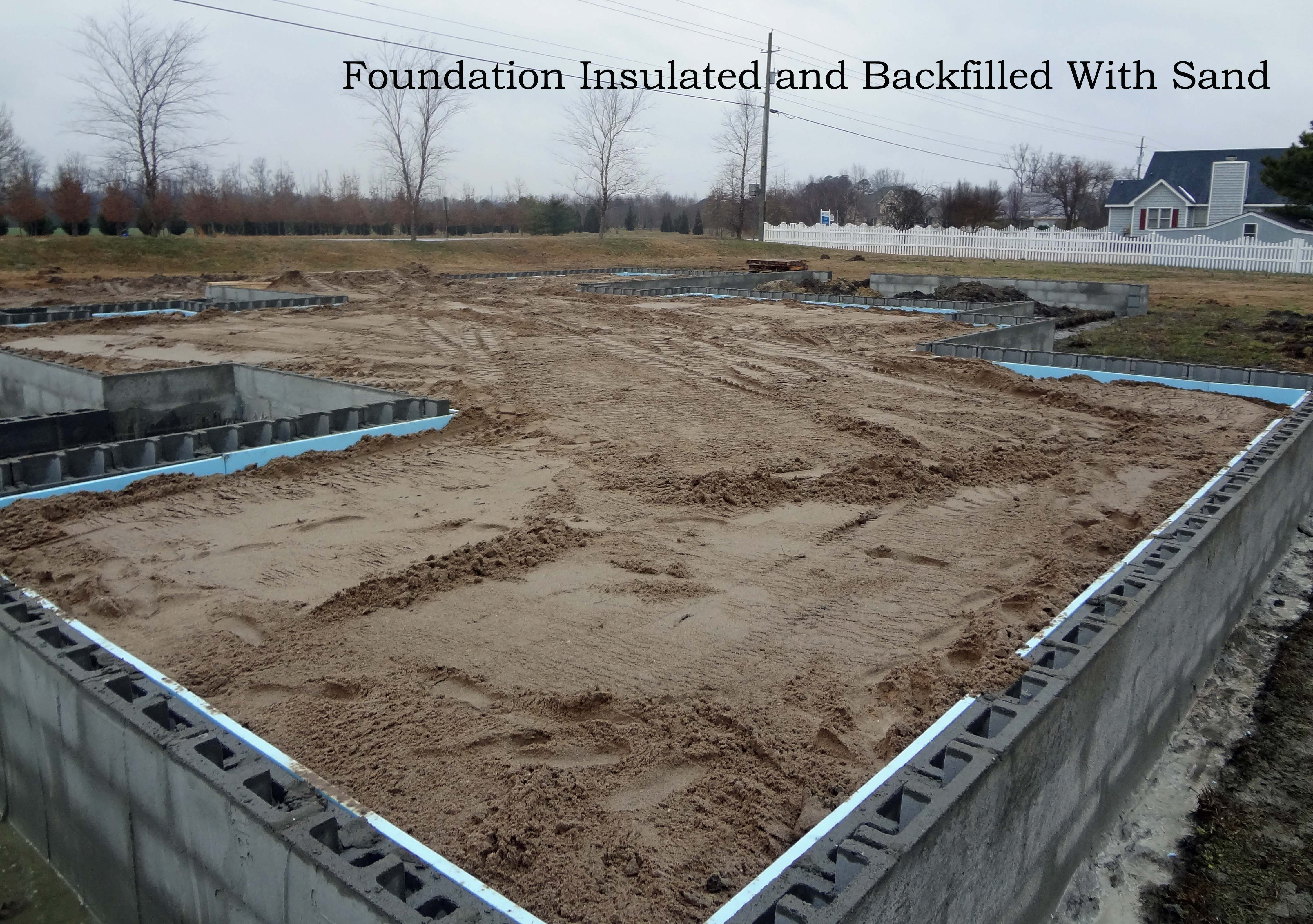 Foundation backfilled with sand text grace construction for Best backfill material for foundation